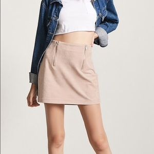 faux suede baby pink zip-up skirt!